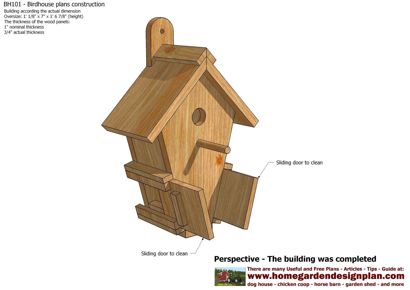BH101 Bird House Plans Construction Bird House Design