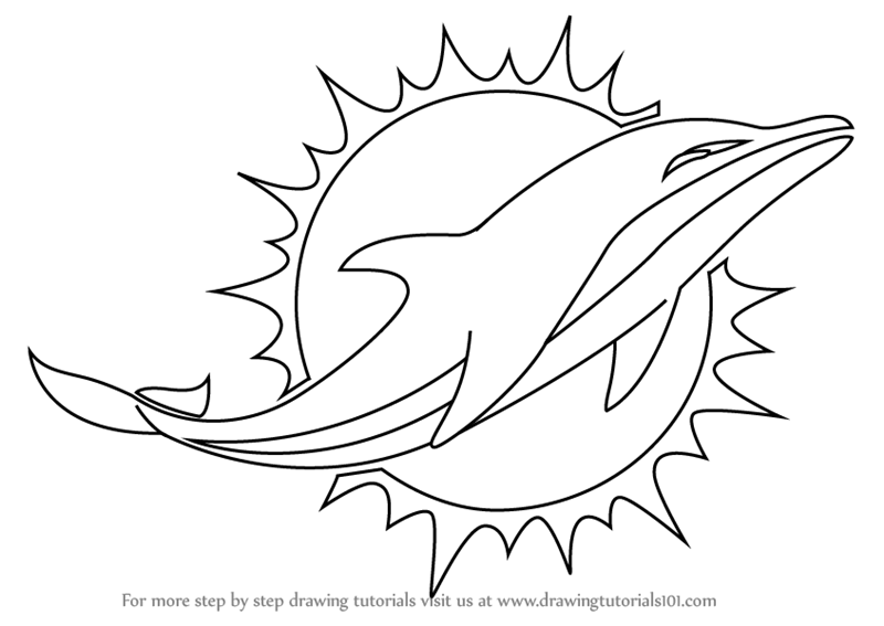 How To Draw Miami Dolphins Logo Step 0 Png 800 567 Dolphin Coloring Pages Football Coloring Pages Miami Dolphins Logo