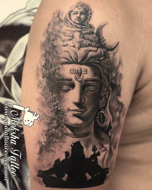 b48c3a434 Pin by Moksha Tattoo Studio on Tattoo done by Mukesh Waghela at Moksha  Tattoo Studio Goa India. | Shiva tattoo, Goa tattoo, Shiva tattoo design