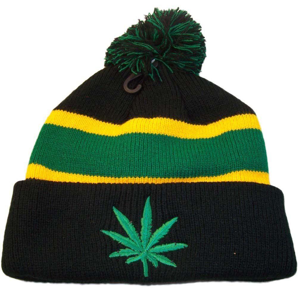 Pom Pom Regga Rasta Marijuana Winter Beanie (Black Green) at Amazon Men s  Clothing store  58519d55cca8