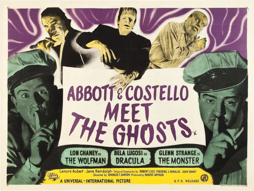 Abbott And Costello Meet The Invisible Man Abbott And Costello Meet The Ghosts 1948 British Poster Planetofpop Abbott And Costello Horror Posters Horror Movie Posters