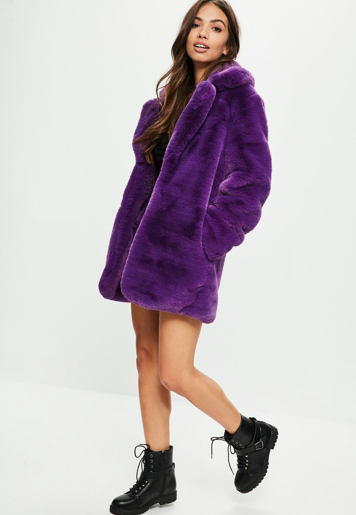 5d1ea168c Missguided - Purple Faux Fur Coat With Collar | Clothing ...