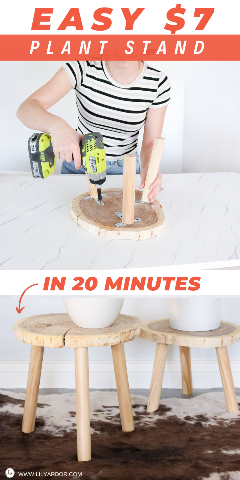 Here's how to make plant stands that only take 20 minutes to make and cost $7!  #diyhomedecor #plantstand #diydecor