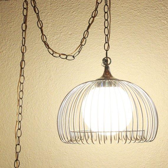 Vintage Hanging Light Hanging Lamp Metal Cage Glass Globe