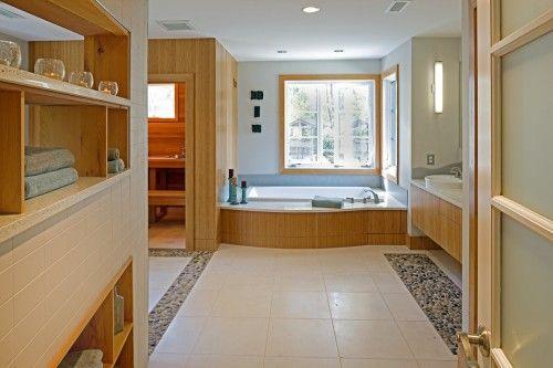 Pebble Tile Border Master Bath Bathroom Bathtub