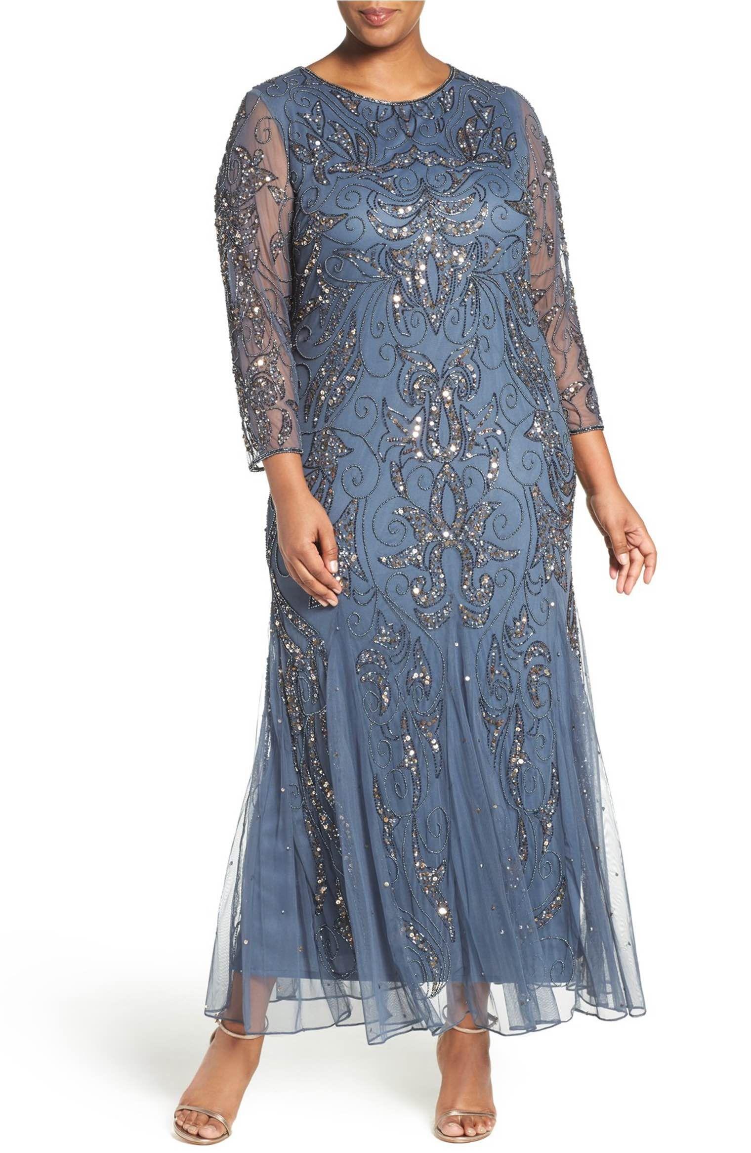 Mother dresses wedding plus size  Main Image  Pisarro Nights Embellished Three Quarter Sleeve Gown
