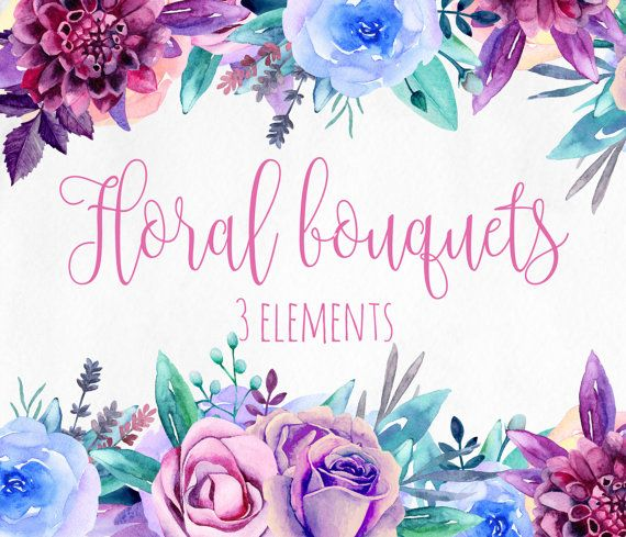 Purple Flowers Clip Art Blue Watercolor Bouquets By RemiPapers