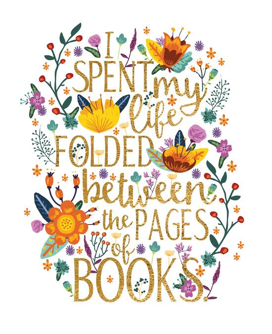 Folded Between The Pages Of Books Floral Art Print Book Quote