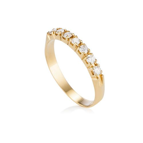 9580427d6e369 Meia Aliança Ouro Amarelo e Diamantes   jóias   Ouro, Alianças de ...