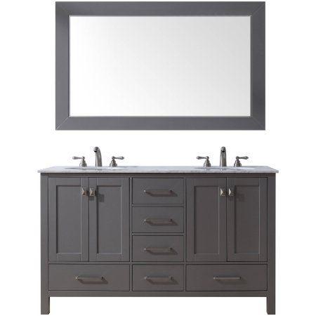 Doppelwaschbecken Badezimmer · Stufurhome 60 Inch Malibu Grey Double Sink  Bathroom Vanity With Mirror, Gray