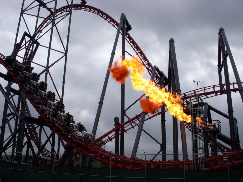 X2 Fire Effect Magic Mountain Carnival Rides Park Around Roller Coaster Theme