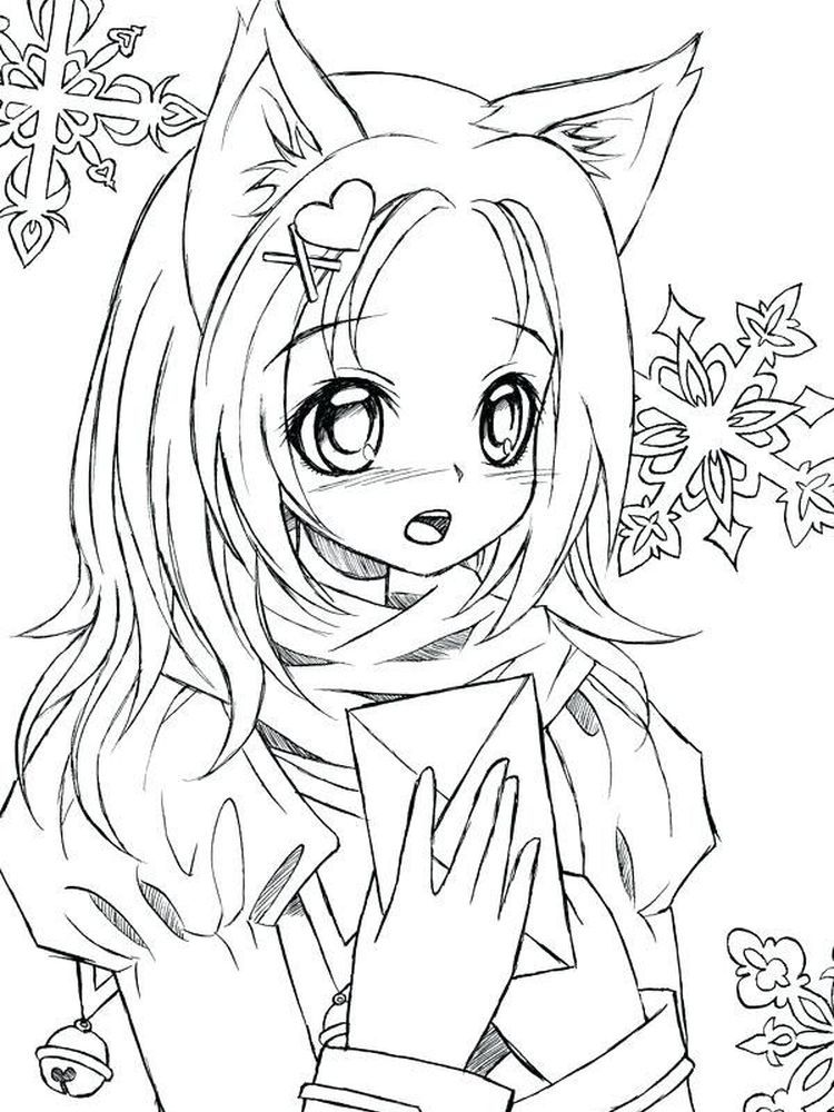 Anime Animal Girl Coloring Pages In 2020 Mermaid Coloring Pages Cartoon Coloring Pages Cat Coloring Page