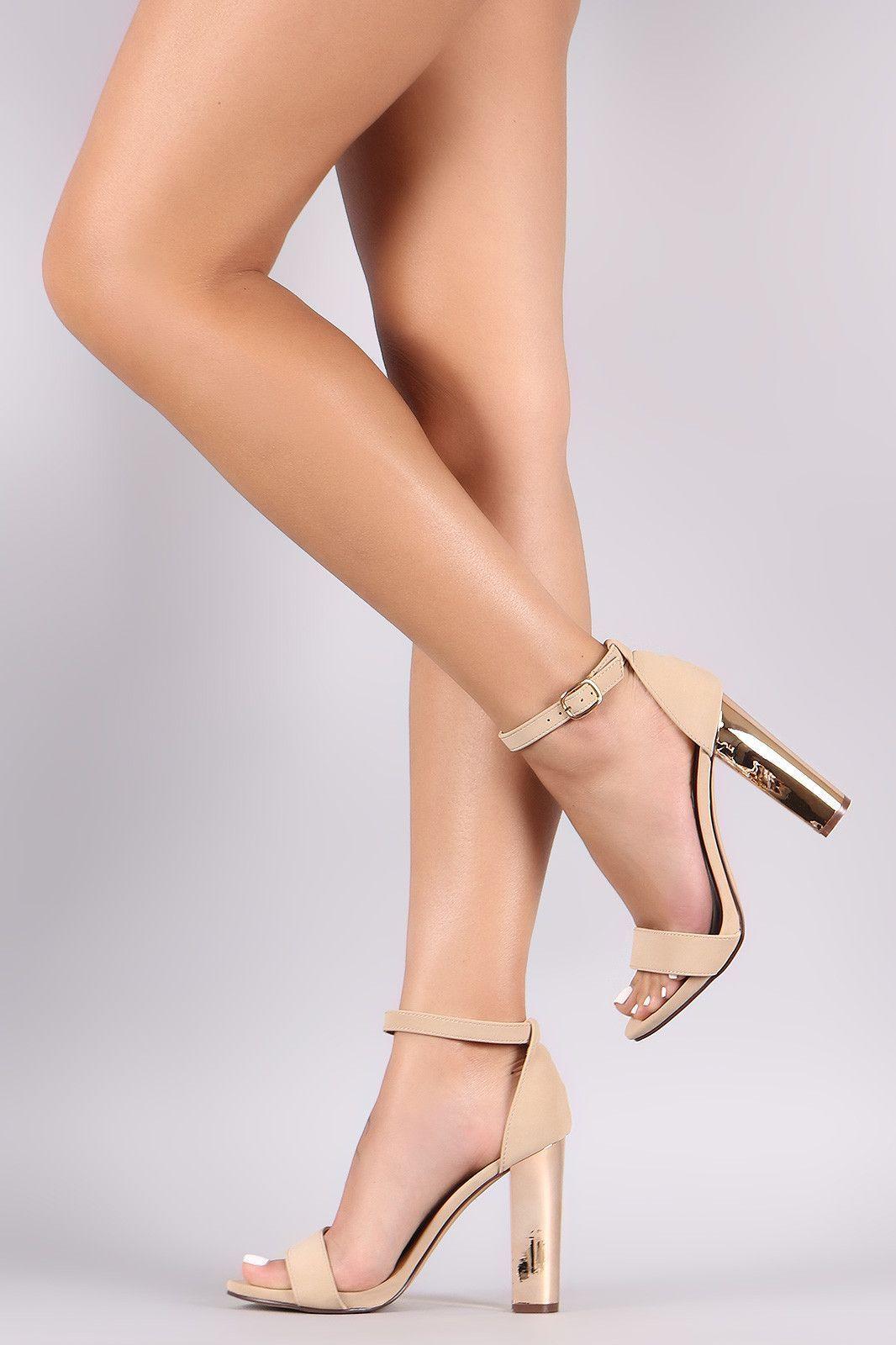 2679f1e84efe Bamboo Nubuck Open Toe Metallic Chunky Heel Ankle Strap Heels