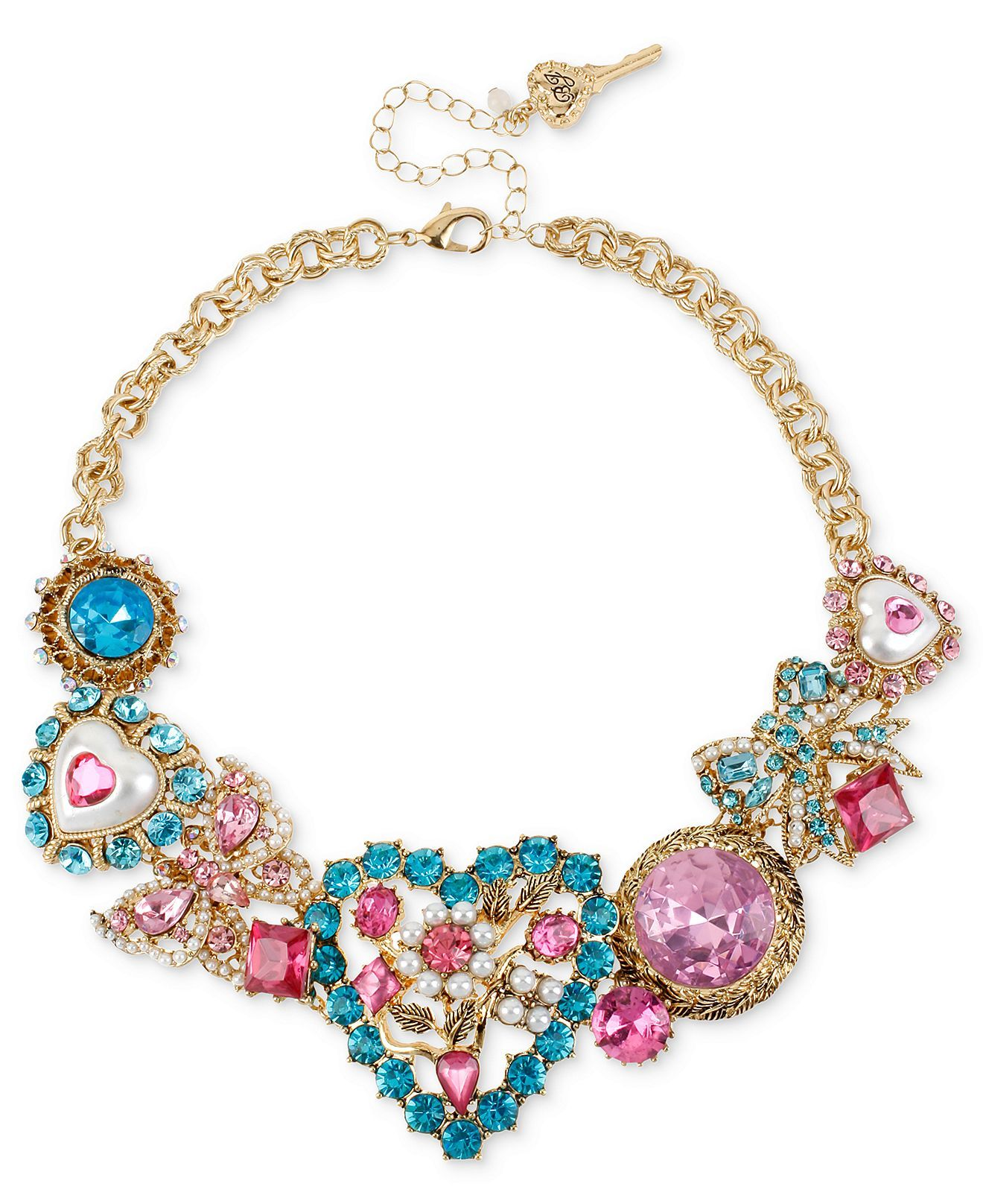 Betsey Johnson Necklace, Gold-Tone Heart Stone Frontal Necklace - Fashion Jewelry - Jewelry & Watches - Macy's