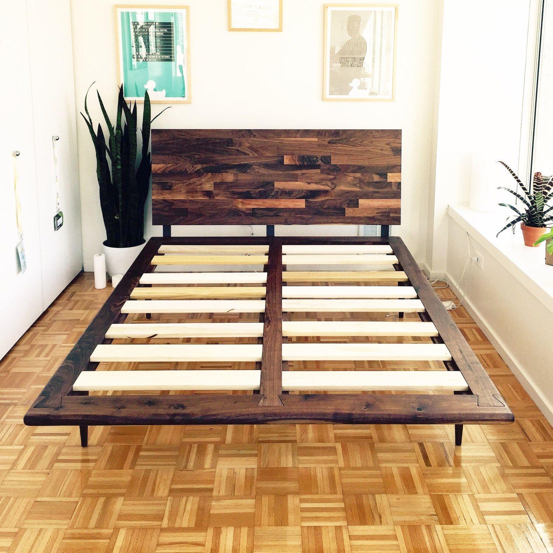 Best Free Delivery Mid Century Solid Walnut Platform Bed Queen 400 x 300
