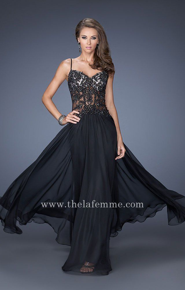 b991c8e9fbc Classic Illusion Bodice Jewel Black La Femme 20031 Gown for Prom ...