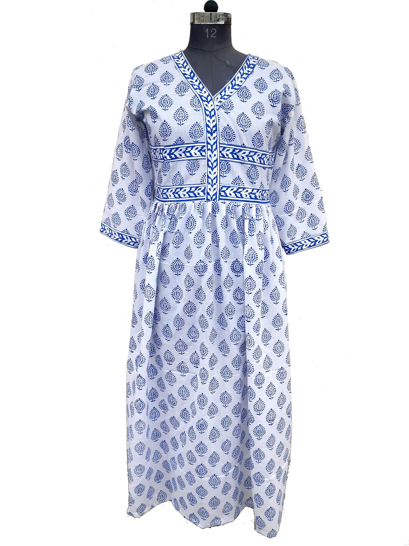Hand Block Printed Dress Block Print Dress Indian Tunics Hand Printed Dress Indian Cotton Long Gown Indian Cotton Indian Tunic Cotton Voile Dress Dresses [ 3000 x 2250 Pixel ]