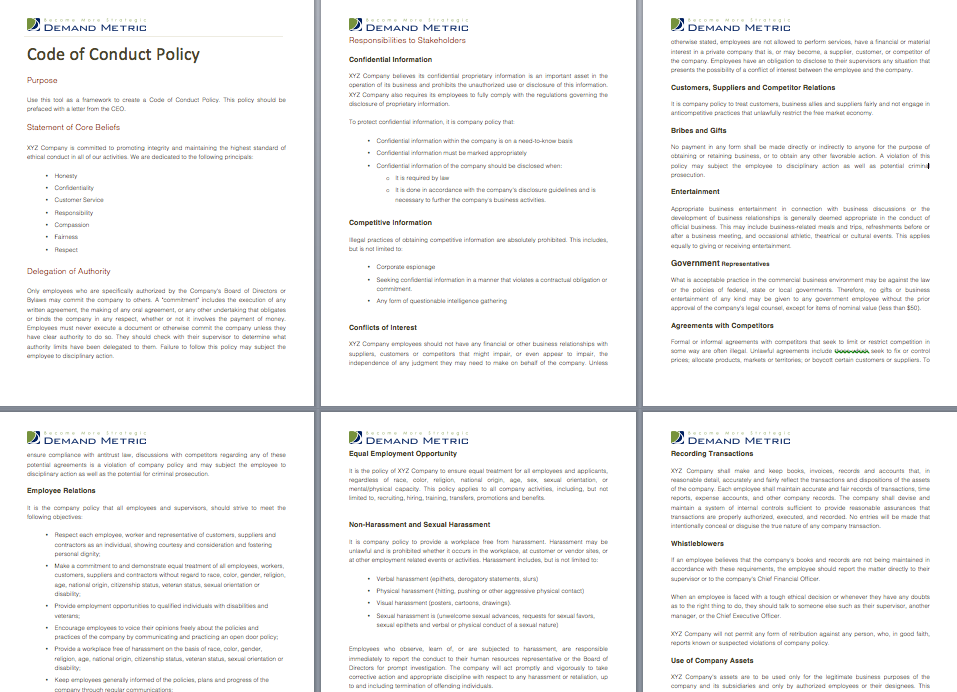 code of conduct policy a policy template to outline standards for acceptable staff behavior