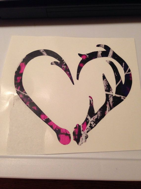 Custom Hook And Antler Heart Car Decal Custom By KaylansKreations - Camo custom vinyl decals for trucks