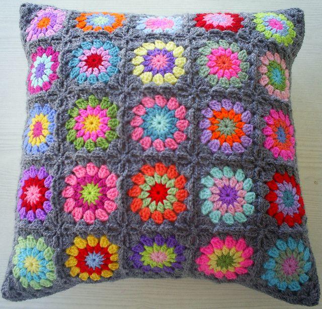 Pillow cover Crochet cushion Crochet pillow cover Pillowcase  Granny squares pillow Cushion cover Home decor Decorative pillow Gray pillow