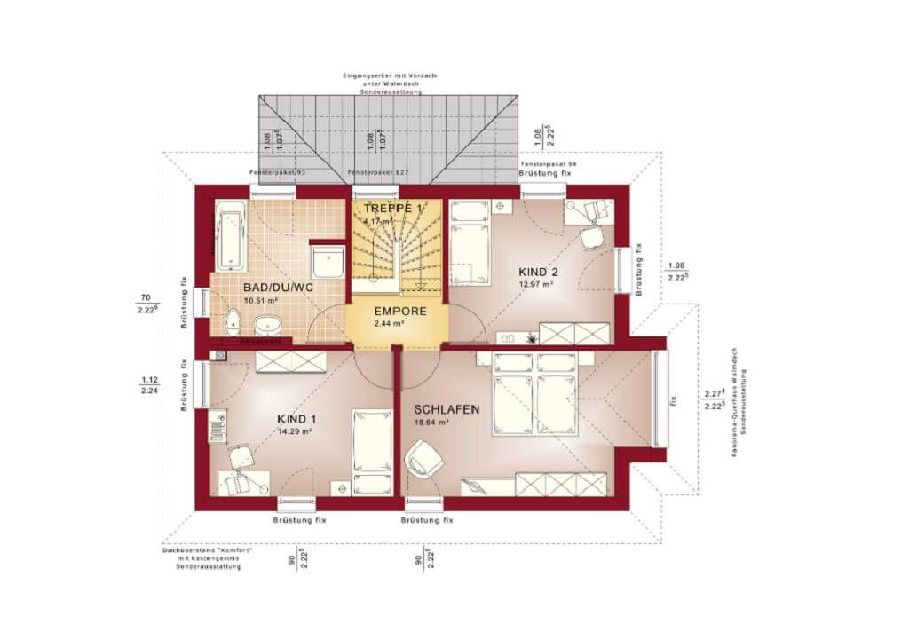 Grundriss Obergeschoss Stadtvilla mit Walmdach - Haus Edition 2 V6 ...