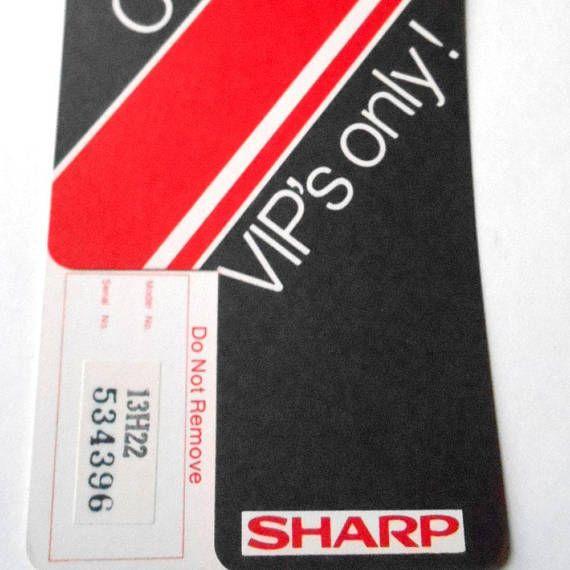 Vintage S Sharp Vip Confidential Warranty Registration Card