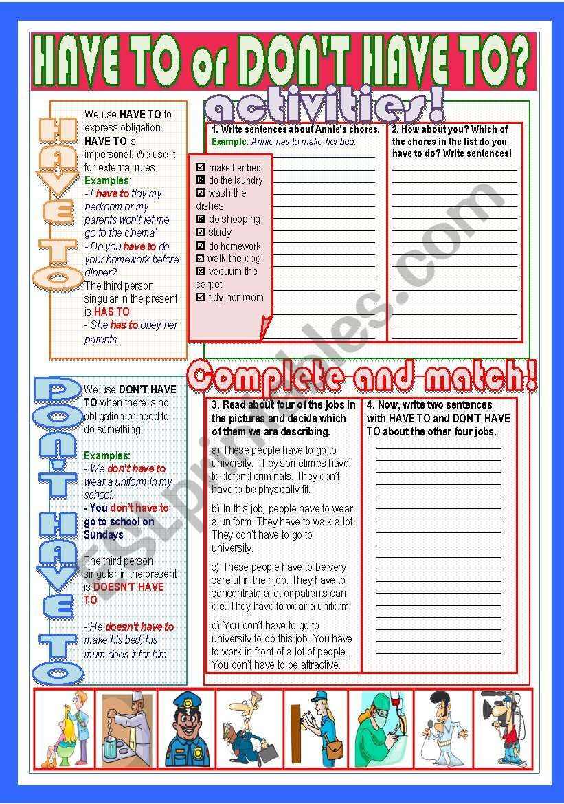 Have To Or Don T Have To Worksheet Grammar Worksheets Teaching English Learn English Grammar [ 1169 x 821 Pixel ]