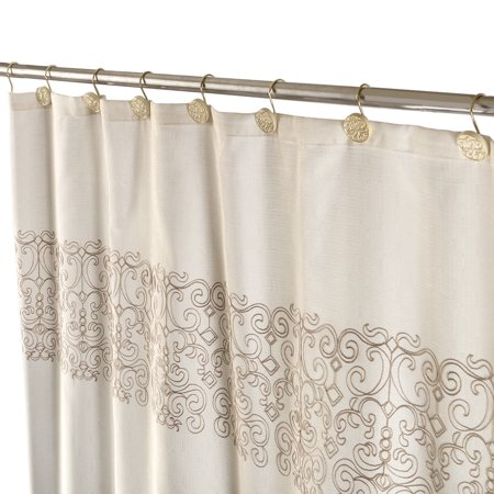 Shannon Fabric Decorative Shower Curtain Soft Touch Waterproof