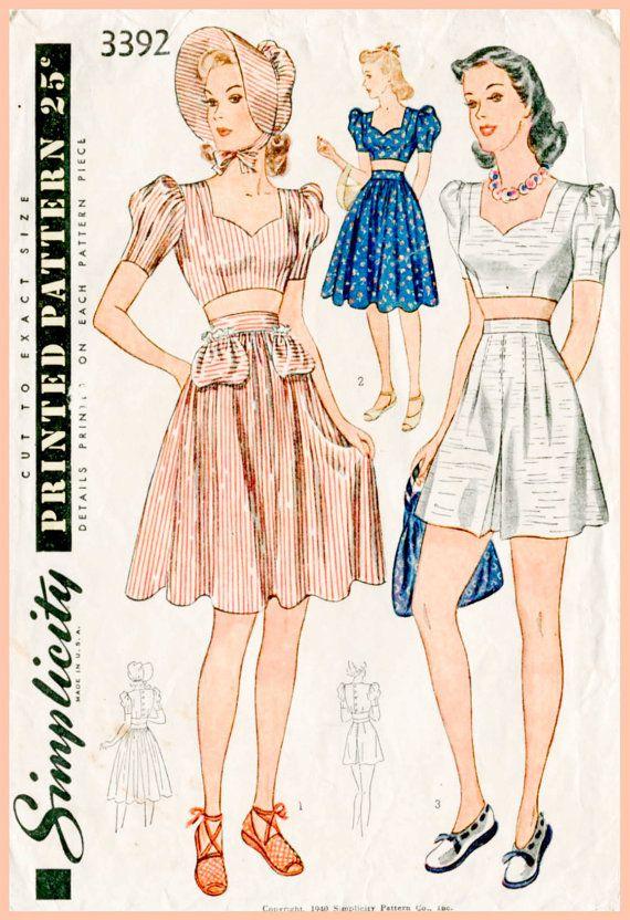 1940 Vintage Nähmuster 1940er Jahre 40er Jahre Hochzeit Kleid Abend Ballkleid mit Schleier Büste 32 B32 Reproduktion