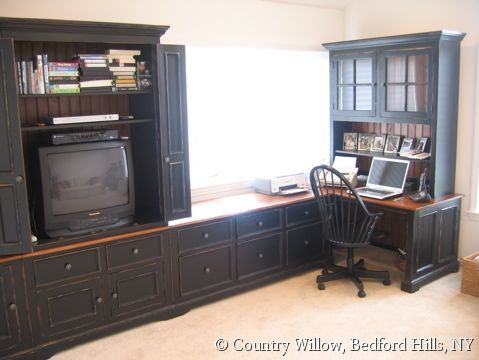 Entertainment Center And Desk Combo
