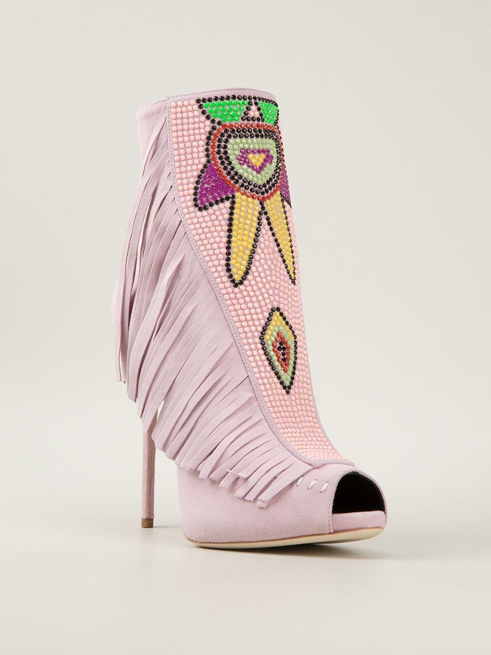 Giuseppe Zanotti Design Fringed Open Toe Ankle Boots - Julian Fashion - Farfetch.com.br