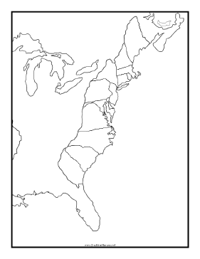 This blackline master features a Map of Thirteen Colonies Free to