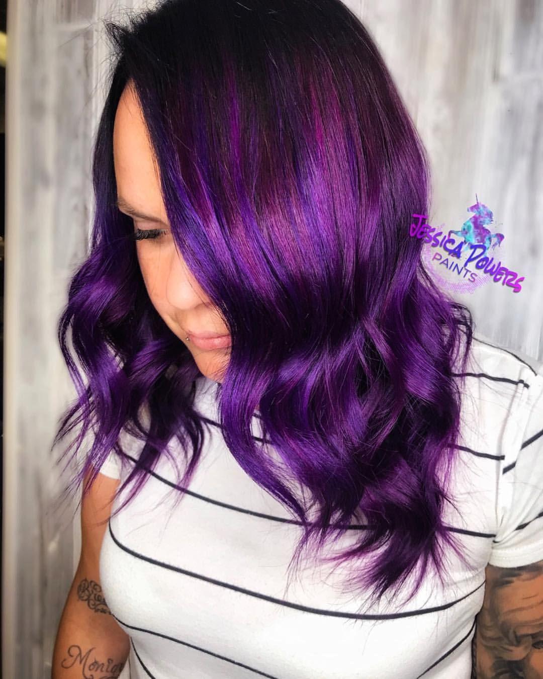 Pink and purple hair color vibrant vivid fashion on dark ...