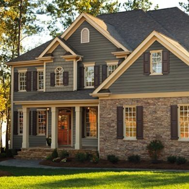 Houses With Log Siding And Faux Rock Yahoo Image Search Results House Exterior House Siding House Colors