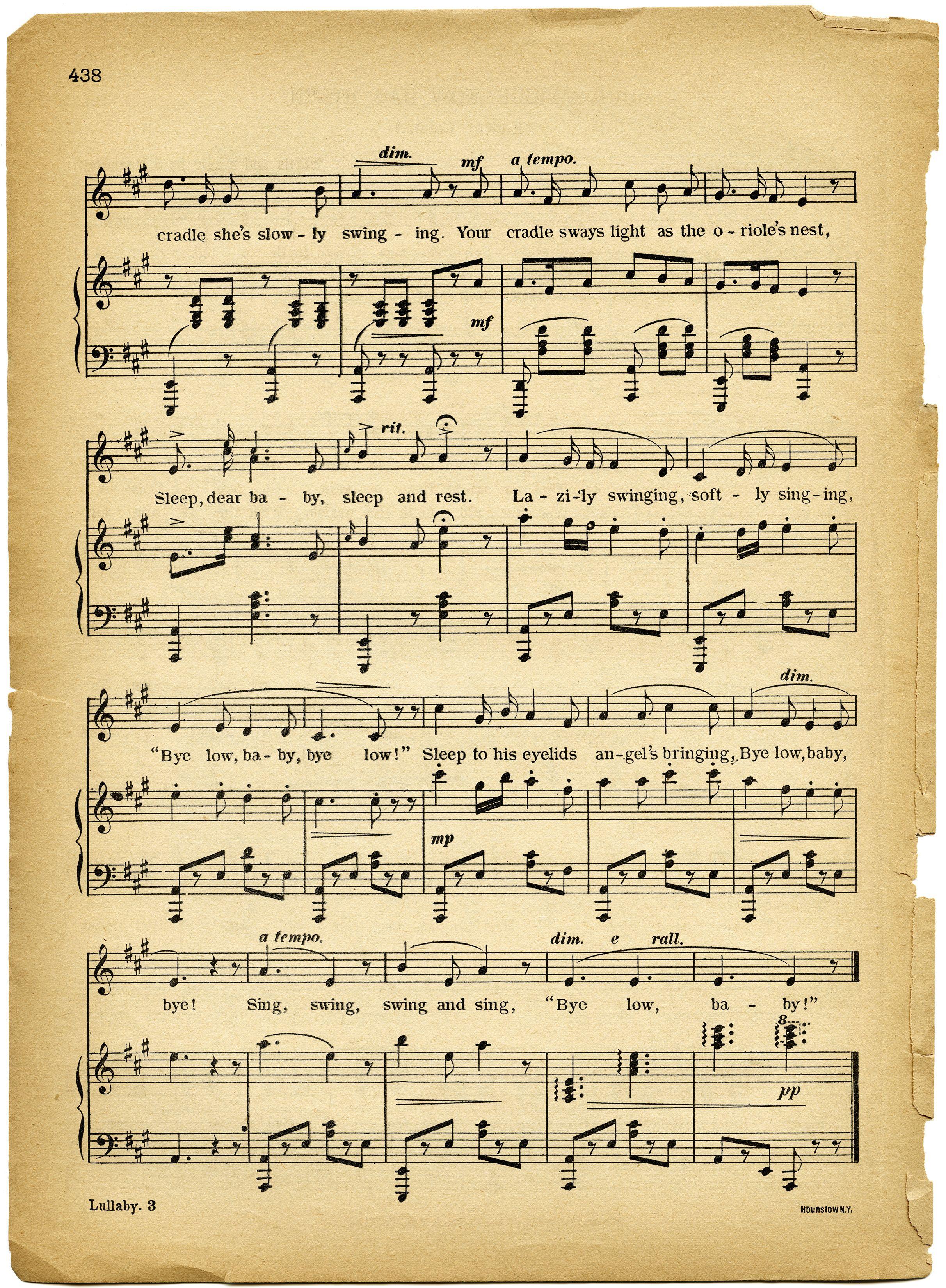 lullaby sheet music, vintage lullaby, margaret tuggle