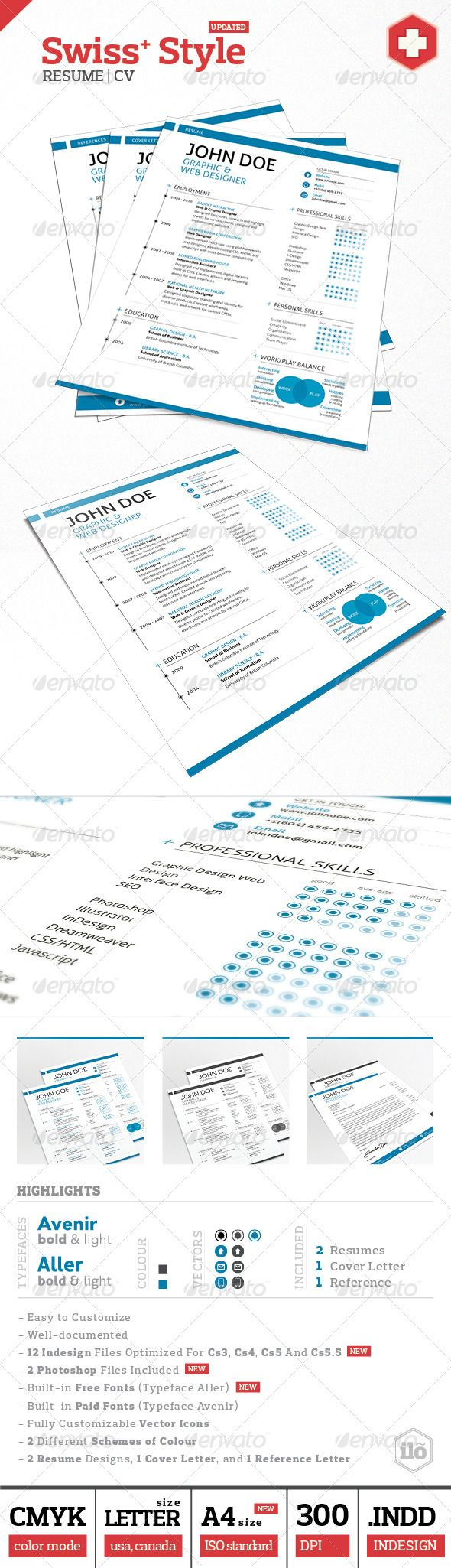 3 piece swiss style resume set resume pinterest swiss style