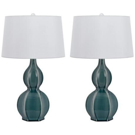 Murcia Slate Blue Ceramic Table Lamp Set Of 2 6c383 Lampsplus Com Lamp Sets Lamp Traditional Table Lamps