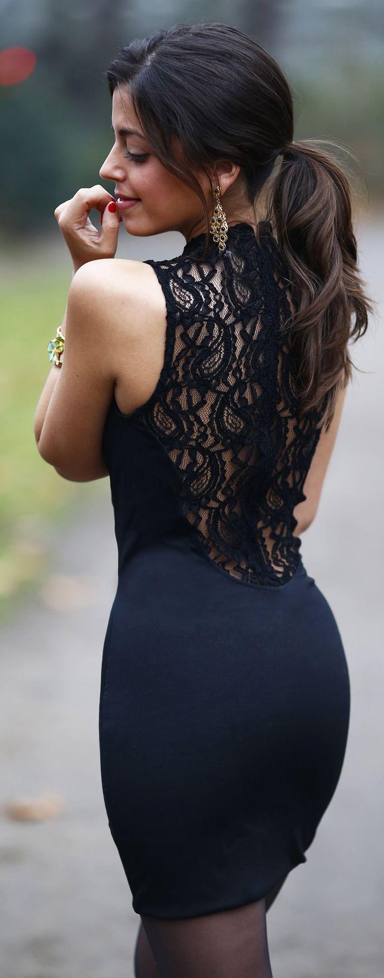 Black Back Lace Cocktail Mini Dress