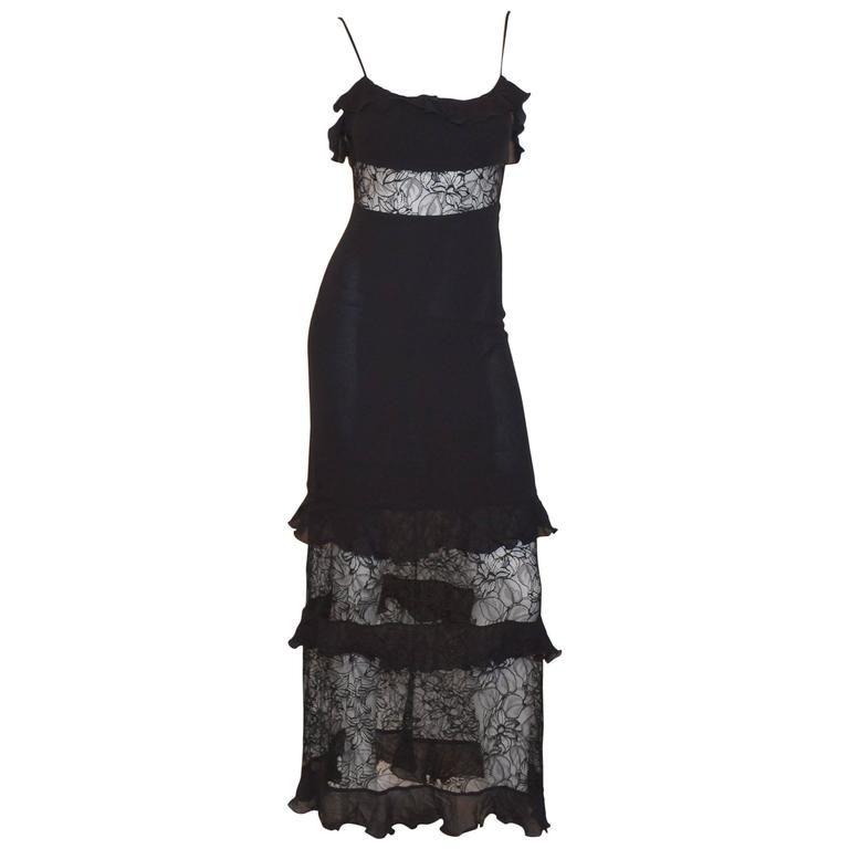 Chanel Boutique Lace Insert Slip Dress 1990