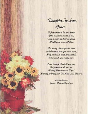 Daughter In Law Personalized Poem Mothers Day Gift Ebay Crafts