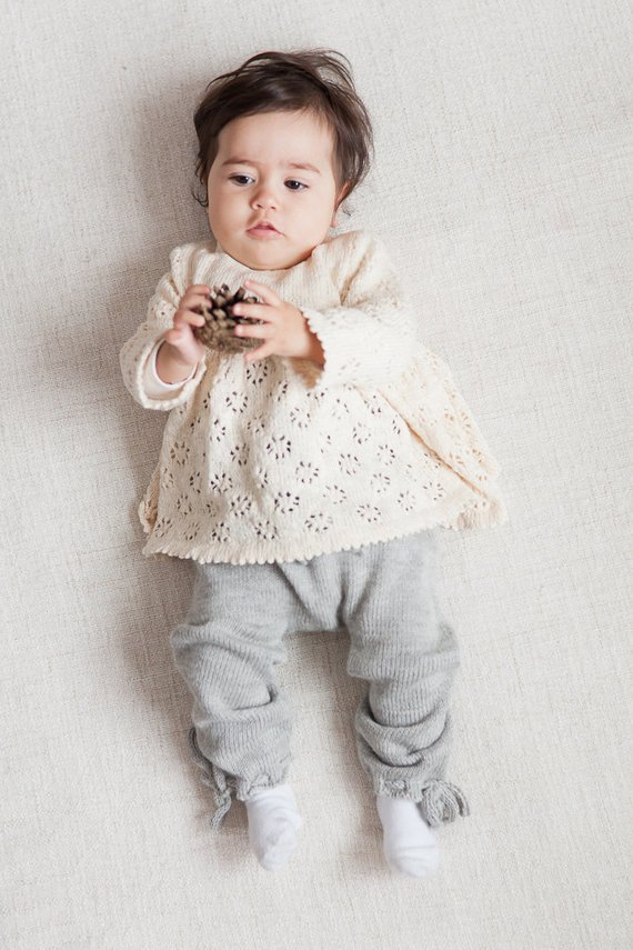 85a5451c141e Baby girl clothes Baby girl lace sweater Tunic Baptism clothes Knit sweater  Baby Girls sweater