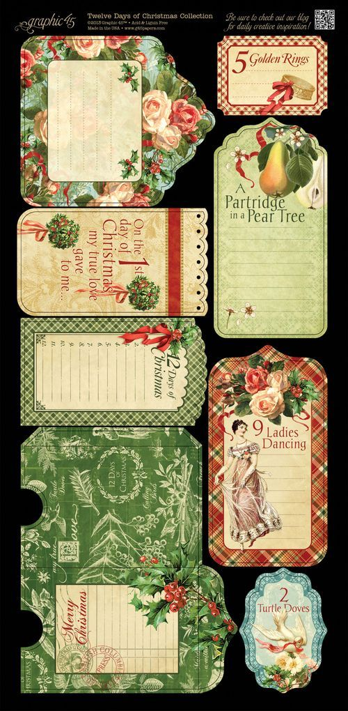 The Twelve Days Of Christmas Cardstock Tags Pockets 2 Graphic45