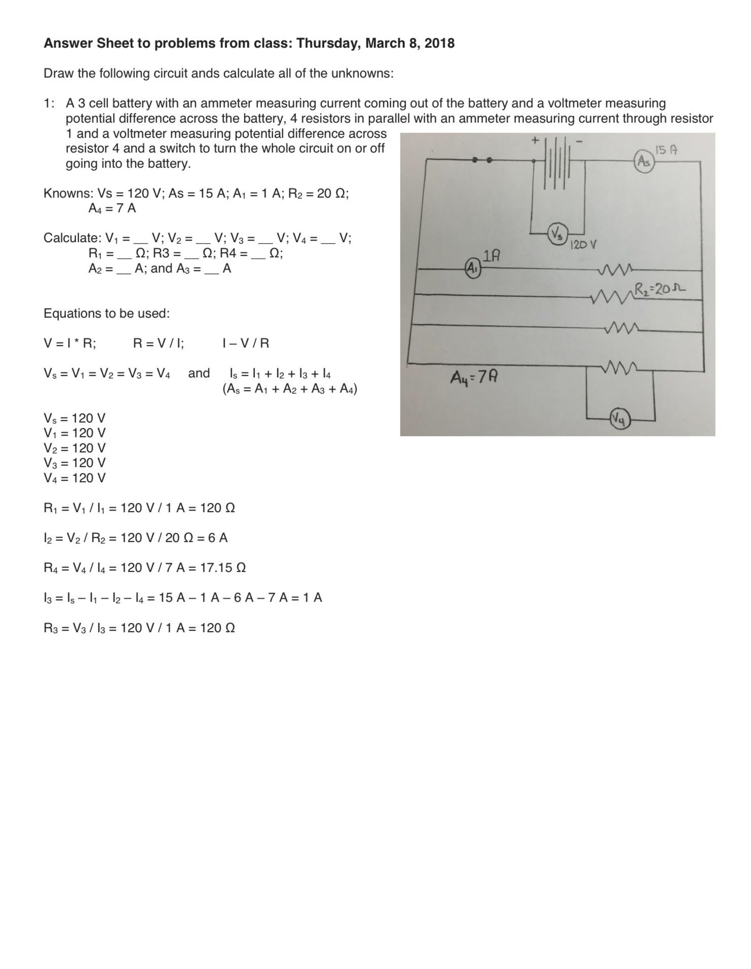 Calculating V I R For A Series And Parallel Circuit Problems With Switch There Answers