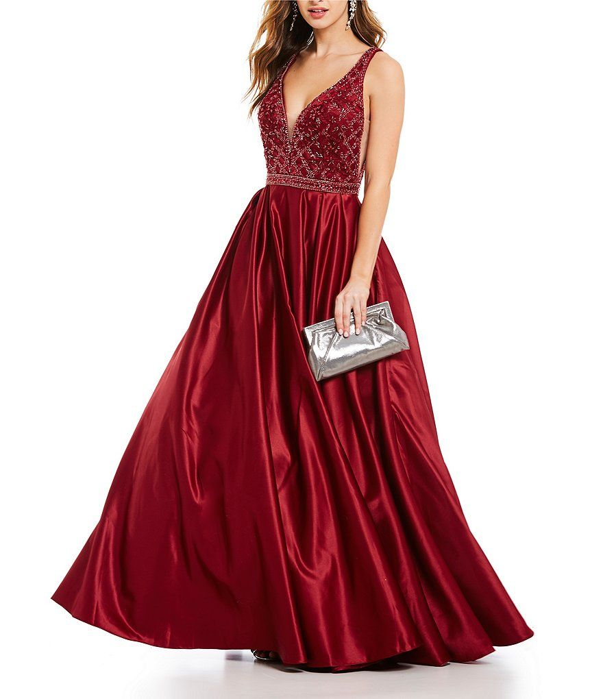 224168fd6b0 Shop for Coya Collection Deep-V Beaded Bodice Ball Gown at Dillards.com.  Visit Dillards.com to find clothing