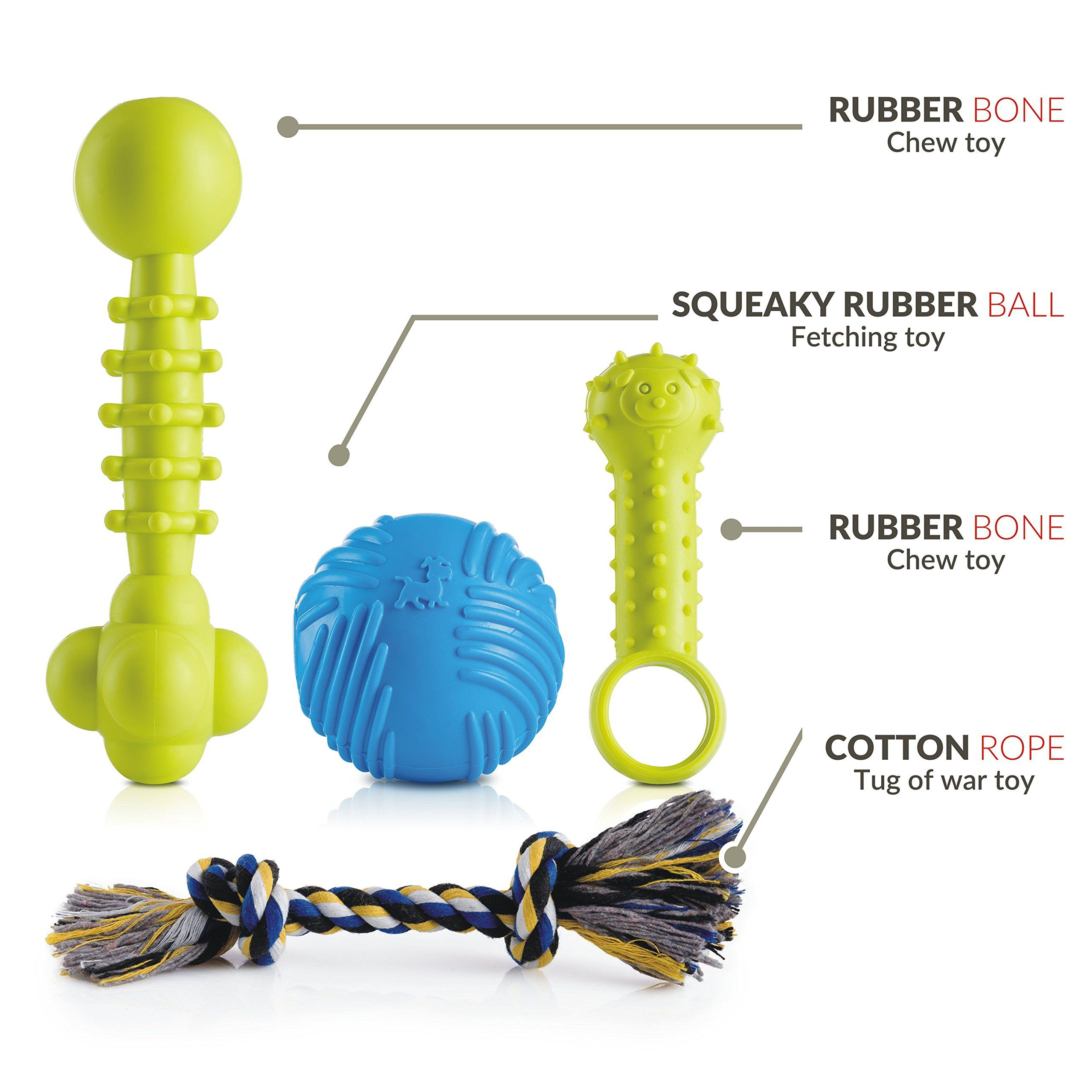 Puppy Dog Chew Toys Set A Interactive Squeaky Rubber Ball Pack