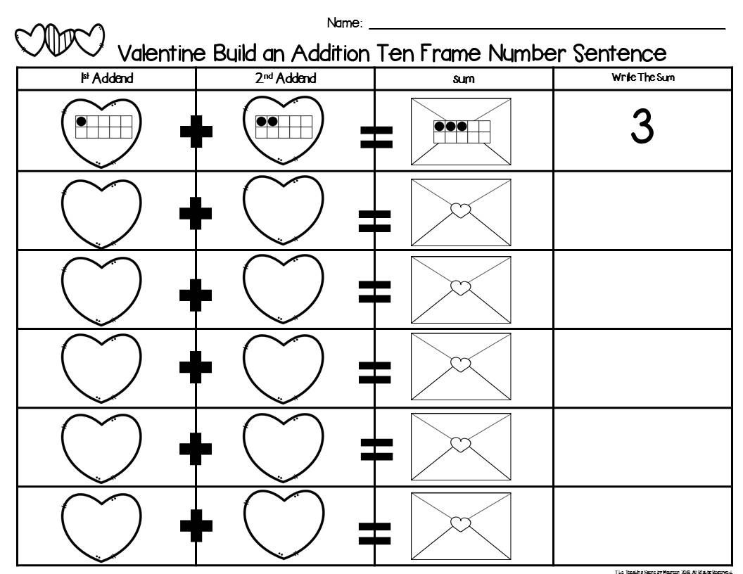 Valentine 2 Addend Addition Amp Subtraction With Ten Frames