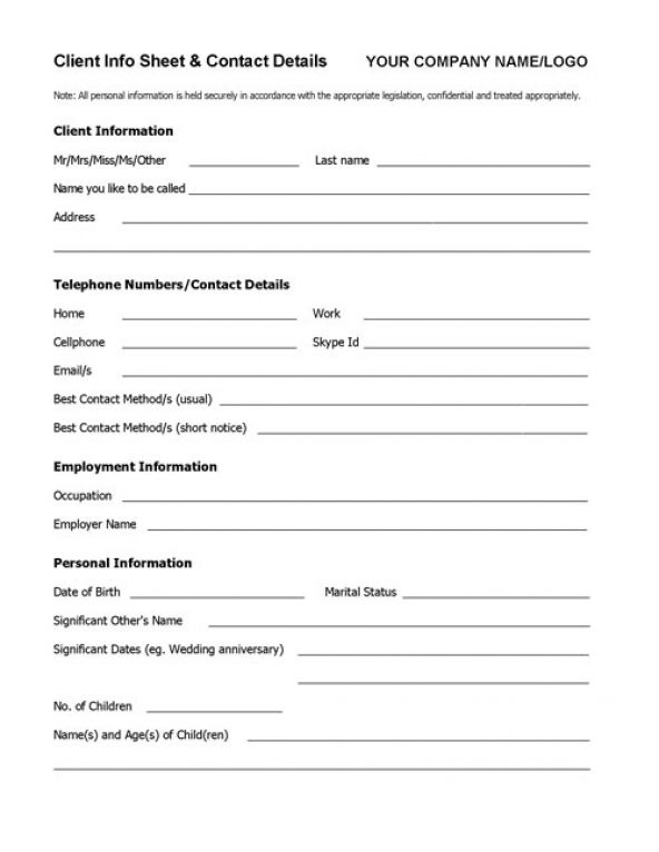 Client Info Sheet TEMPLATE Printables Pinterest Template and