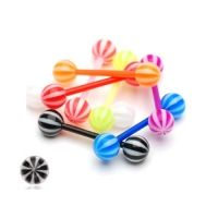 Tepelpiercing flexibele staaf candy zwart