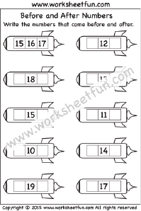 Before and After Numbers – 1-20 – One Worksheet | Printable ...