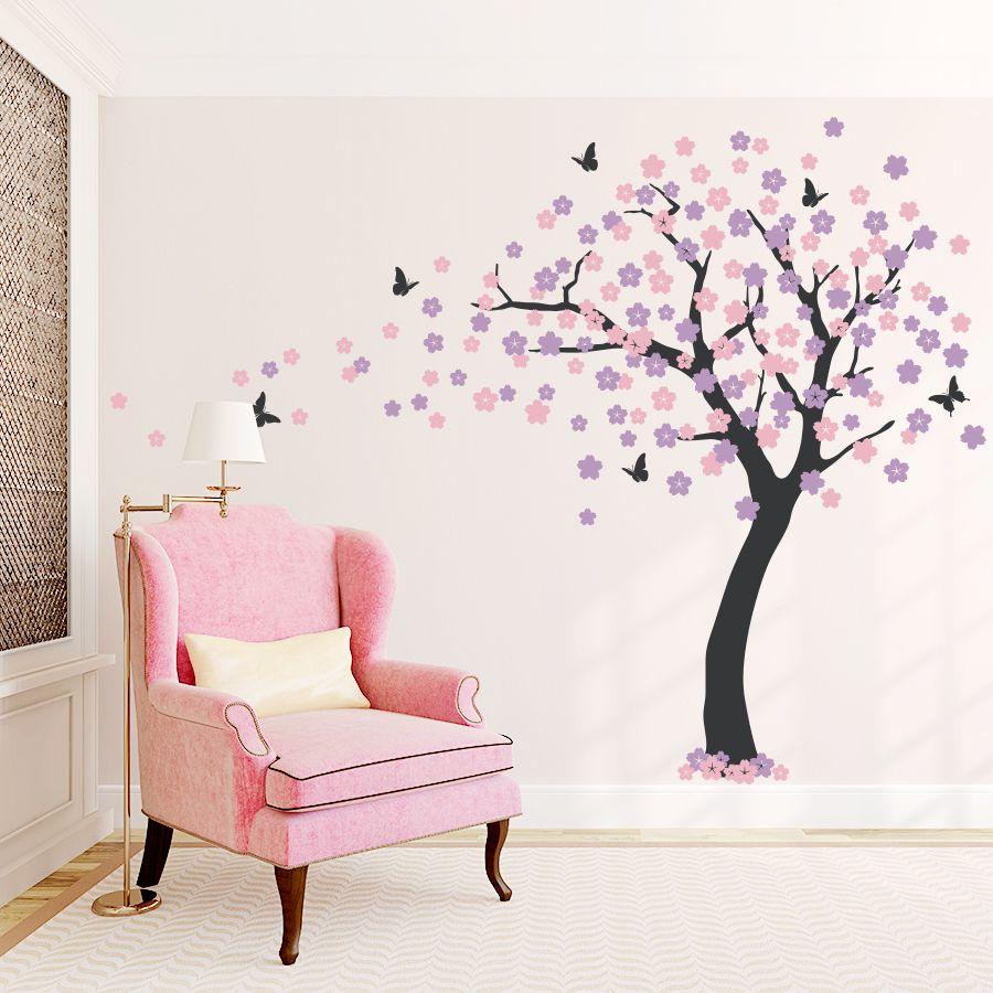 Cherry Blossom Tree Wall Decal Cherry Blossom Decal Simple Wall Decor Tree Wall Decal Family Tree Wall Sticker
